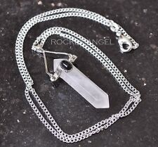 925 Silver Necklace Rose Quartz & Onyx Pendulum Prism Reiki Healing Ladies Gift
