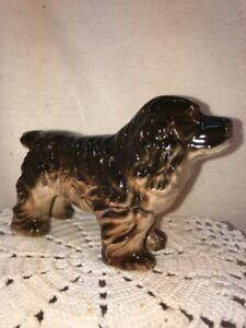Vtg Mid-Century 1950-60's Japan Black Brown Cocker Spaniel Puppy Dog Figurine
