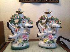 2 Vintage Mid Century Figural Ethnic Oriental Asian Crane Bird Ceramic Lamps
