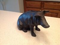 Vintage Black Cast Iron Pig Hog Sow Bank LARGE Sitting