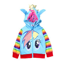 kids Girls My Little Pony Hoodie Wings Kids Jacket Sweater Twilight Rainbow Dash