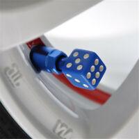 4Pcs Blue Dice Tire Valve Stems Air Caps Tyre Cover
