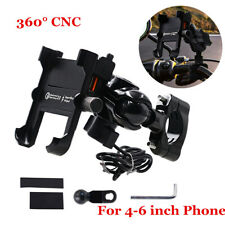 360° CNC Motorcycle Phone Mount Holder With USB Charger for Cell Phone GPS