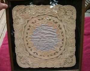 Exceptional Framed VICTORIAN LACE WEDDING HANDKERCHIEF-Owner's Label-NR