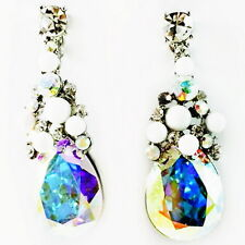 USA EARRING fashion Swarovski ELM AB Crystal drop Dangle Clear white gold PEARL