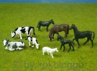 F47 H0- Set Tiere für Bauernhof Kühe Pferde Esel Schaf