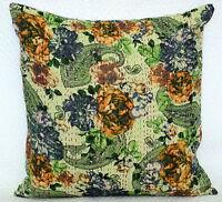 "Indian Cotton Floral Cushion Cover Throw Sofa Pillow Kantha Case Home Décor 16"""