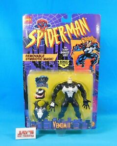 Venom II with Removable Mask Figure Spider-Man Animated 1995 ToyBiz New on Card