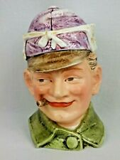 Vintage Antique Man Cigar Solider Hunter Figural Tobacco Jar Kromer Military Hat
