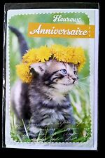 "F1)Carte ""Heureux Anniversaire"" Chat - Neuf"