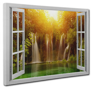 Waterfalls Lake Picture Window Canvas Wall Art Print Size 51x76cm