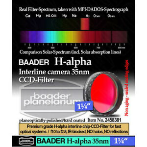 """Baader H-Alpha 35nm CCD Filter for Imaging - 1.25"""" # FHAL-1 2458381"""