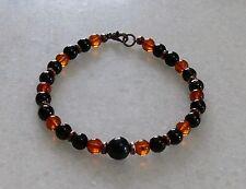 Shungite black tourmaline Baltic amber and jet bracelet for men or women