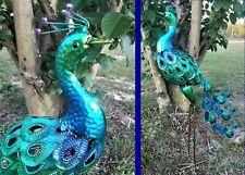 Colorful Metal Peacock Sculpture Yard Art Garden Decor Patio Bird Statue 31�H