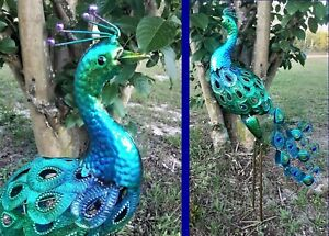 "Colorful Metal Peacock Sculpture Yard Art Garden Decor Patio Bird Statue 31""H"
