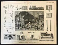 Autentico ANTICO LIBRO stampa 1883, la fabbricazione del vetro, FORNO crogioli filtranti POMPA ECC.