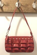 Steve Madden Faux Red Leather Shoulder Hand Bag Zippered  Riveted Leopard Int