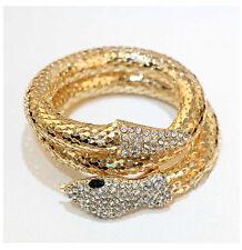 Creative Punk Rhinestone Snake Curved Chunky Stretch Bangle Cuff Bracelet Gifts