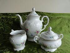 Wawel Poland China Rose Floral WAV6 Coffee Tea Pot, Sugar Bowl, Creamer, NOS