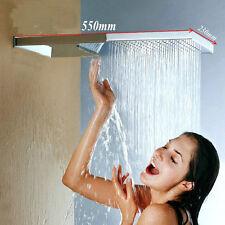 XN Rectangle 2 Function Bathroom Rainfall Waterfall Shower Head Mixer Faucet Tap