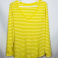 Womens Old Navy Long Sleeve Yellow White Striped Relaxed Fit Top Sz XL X-Large