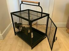Parrot-Supplies Premium Travel Cage - Black - With Bowls & Wooden Perch