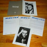STING Nothing Like The Sun 1987 3pc Photo Press Kit Lot The Police Solo