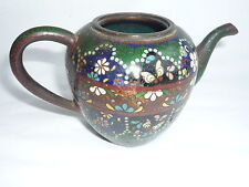 Antique Chinese Painted Cloisonne Bronze Teapot