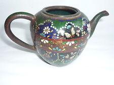 Antique Chinese Painted Cloisonne Bronze Teapot