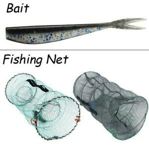 Foldable Fishing Net Trap Portable Zipper Bait Baits Durable Camping X7V7