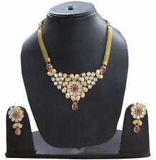 Latest Indian Wedding Charm Necklace & Earrings set Bridal Floral Jewellery