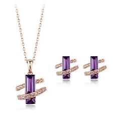 18K ROSE GOLD PLATED & GENUINE CUBIC ZIRCONIA PURPLE NECKLACE & EARRING SET