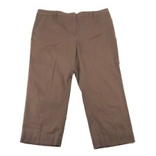Lands' End Womens Brown Khaki Flat Front Cotton Crop Capri Chino Pants 16P