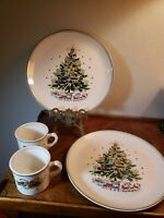 "VTG 4 pcs SALEM ""CHRISTMAS EVE"" FINE CHINA 2 dinner plates 2 coffee cups"