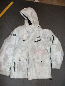 youth L  ski winter coat jacket size 12-14 Quick Silver insulated gray unisex