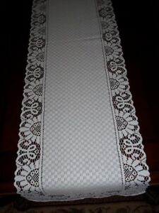 LACE TABLE RUNNER WHITE FLORAL CHECKERED 54 X 14 WTRC530 HOME DECOR