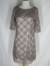 Jax Taupe Crocheted Lace Dress 6