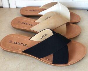 Soft Flexible Open Toe Flat Sandal On Lightweight Foam Outsole X-Band Slide