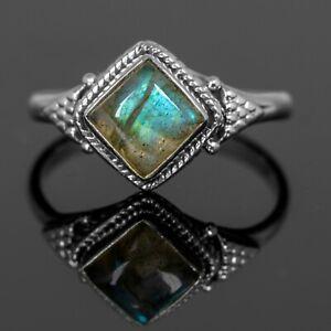 Beautiful 925 Stamped Sterling Silver Ladies Labradorite Ring Gemstone Jewellery