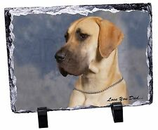 More details for great dane 'love you dad' photo slate christmas gift ornament, dad-35sl
