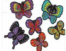 Set of 8 Little Neon Butterflies - Iron On Fabric Appliques