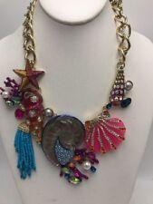 $165 Betsry Johnson gold tone imitation pearl seashell statement necklace Exp