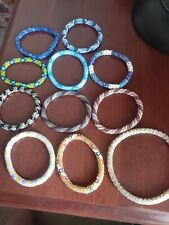 """Lot Of 11 Sashka And Other Misc Brand 7"""" Rolled Glass Seed Nepal Bracelets."""