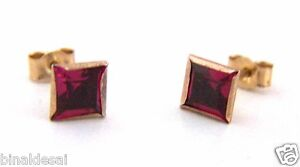9ct Gold 5mm Princess cut Square RUBY Studs Earrings Love Mothers Day GIFT BOX
