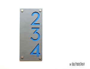 Modern House Numbers, Concrete with Blue Acrylic - Vertical - Sign Plaque