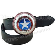 Super Hero Captain America Shield Removable Metal Buckle Leather Belt