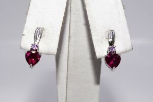1.10CT PINKISH-RED RUBY & PINK SAPPHIRE TWO-STONE DROP EARRINGS .925 SILVER