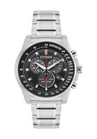 Citizen Eco-Drive Men's Chronograph Silver-Tone Bracelet 44mm Watch AT2370-55E