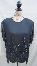 "Vintage ""Oleg Cassini"" Women's Sequin & Pearl Beaded Black Top Medium 100% Silk!"