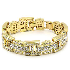 "Men's Gold Plated H Thin Link Clear Cz Stones Hip Hop Bracelet 8"" Inch"